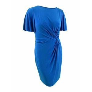 Twisted-Knot Sheath Dress (4, Portuguese Blue) NWT